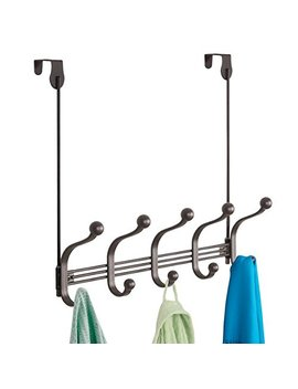 M Design Vintage Decorative Metal Double Over The Door Multi 10 Hooks Storage Organizer Rack For Hats And Coats, Hoodies,Scarves, Purses, Leashes, Bath Towels & Robes     Bronze by M Design