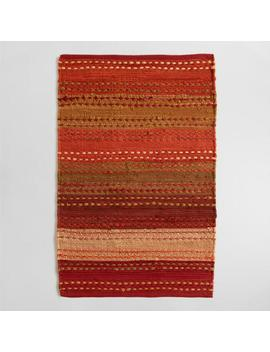 Striped Pebble Persimmon Chindi Area Rug by World Market