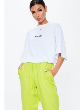 "T Shirt Blanc ""New Season"" épaules Tombantes by Missguided"