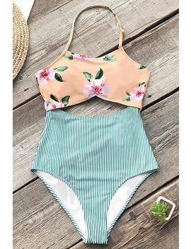 Pink Floral And Green Striped One Piece Swimsuit by Cupshe