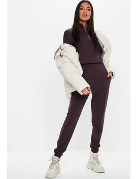 Jogging Slim En Coton Aubergine Tall by Missguided