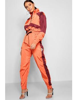 Side Stripe Shell Suit Jogger by Boohoo