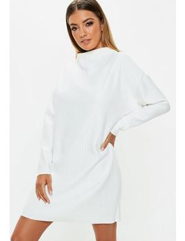 White Oversized Ribbed Sweater Dress by Missguided