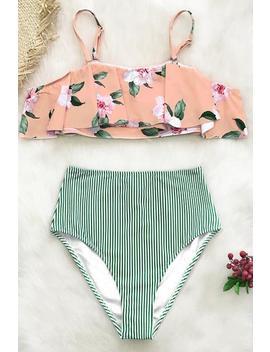 Pink Floral And Green Striped Falbala Bikini by Cupshe
