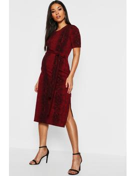 Maternity Snake Tie Front Midi Dress by Boohoo