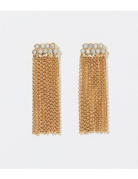 Crystal Chain Tassel Earrings by Loft
