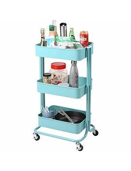 Rackaphile 3 Tier Utility Cart , Heavy Duty Rolling Storage Cart With Mesh Basket, Multi Purpose Metal Trolley Organizer Cart With Casters For Bathroom Kitchen Kids' Room Laundry Room, Blue by Rackaphile