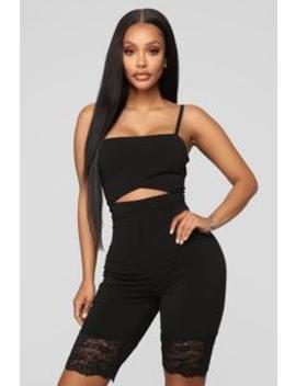 More Than Just Play Romper   Black by Fashion Nova