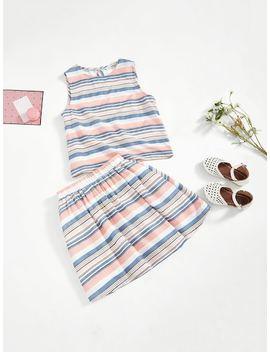 Girls Sleeveless Striped Top & Skirt Set by Shein