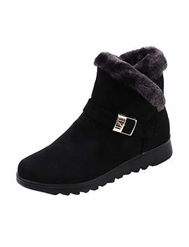 Women Winter Middle Heels Martin Shoes Buckle Faux Warm Boots Ankle Boots Martin Boots Winter Suede Boots Warm Flat Snow Boots by ❤Bluecoolly❤