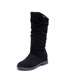 Autumn Winter Shoes Women Ladies Sweet Boot Stylish Flat Flock Snow Boots Mid Calf Leather Non Slip New by Lhwy