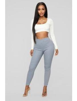 Print Me Please Ponte Pants   White/Navy by Fashion Nova