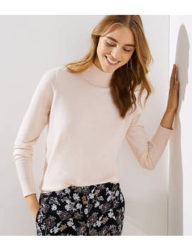 Petite Cutout Button Back Turtleneck Sweater by Loft