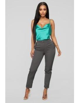 Business As Usual Pants   Grey/White by Fashion Nova