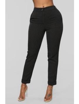 Business As Usual Pants   Black/White by Fashion Nova