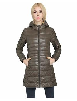 Lightweight Long Down Jacket Women With Hood Womens Down Coats Women's Packable Down Jacket Down Filled Coat Stand Collar Quilted Padded Hooded Puffer Jacket Ladies Bubble Puffa Jacket Winter by Pengniao