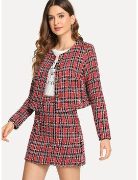 Button Up Plaid Tweed Coat And Skirt Set by Shein