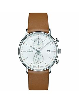 Junghans Form C Chronoscope Quartz Matt Silver Watch | Tan Calfskin 041/4774.00 by Junghans