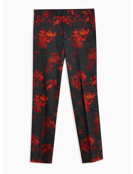 Black Floral Print Slim Trousers by Topman
