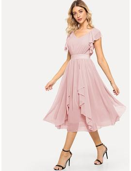 Wide Waist Solid Ruffle Dress by Shein