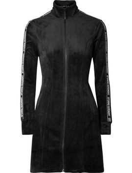 Intarsia Trimmed Velour Mini Dress by Opening Ceremony