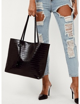 Peta & Jain Saint Tote Black Croc by Peta And Jain