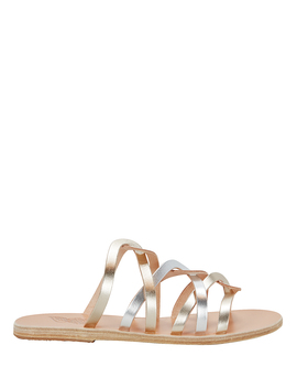Donousa Silver Slide Sandals by Ancient Greek Sandals