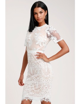 Kayleigh White And Nude Lace Short Sleeve Midi Dress by Lulus