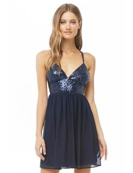 Sequin & Chiffon Mini Cami Dress by Forever 21