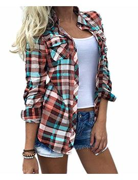 Wisptime Women Button Down Plaid Shirts Casual Long Sleeve Blouse Gingham Checkered Shirt by Wisptime