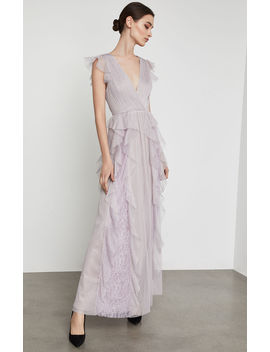 Draped Ruffle And Lace Gown by Bcbgmaxazria