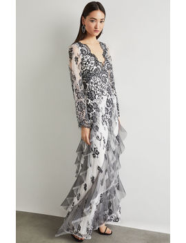 Asymmetrical Scalloped Lace Gown by Bcbgmaxazria