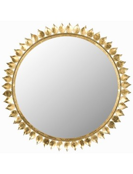 Sunburst Leaf Crown Decorative Wall Mirror Gold   Safavieh® by Safavieh