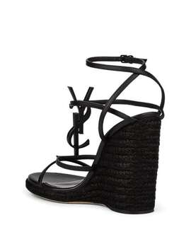 Cassandra Leather Espadrille Wedge Sandals by Saint Laurent