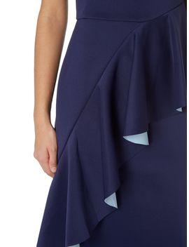 Bonded Ruffle Scuba Midi Dress by Issa