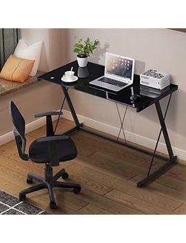Mecor Glass Computer Desk, Z Shaped Metal Frame Corner Laptop Pc Table Workstation Home Office (Black) by Mecor