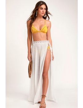 Sun Seeking Ivory Lace Swim Cover Up Maxi Skirt by Lulus