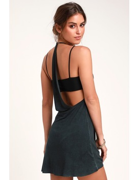 Backside Washed Charcoal Grey Swim Cover Up by Rvca