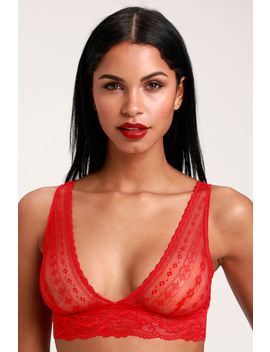 Lina Red Sheer Lace Bralette by Free People