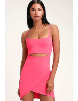 Cutout On The Town Hot Pink Cutout Bodycon Dress by Lulus