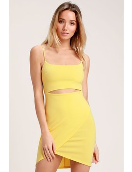Cutout On The Town Yellow Cutout Bodycon Dress by Lulus
