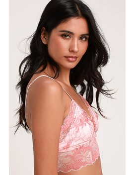 Peony Rose Pink Lace Bralette by Next To Nothing