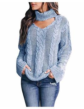 Womens Plus Size Sexy V Neck Sweaters Turtleneck Choker Tops Oversized Cable Knit Chunky Pullover by Yskkt