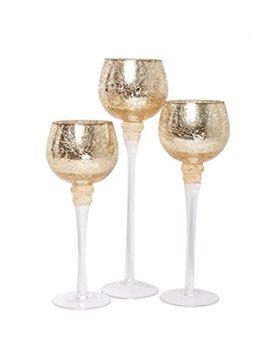 """Hosley Set Of 3 Crackle Gold Glass Tealight Holders (9"""", 10"""", 12"""" High). Ideal For Weddings, Special Events, Parties. Also Makes A Great Gift. O9 by Hosley"""
