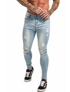 Gingtto Skinny Jeans For Men Stretch Slim Fit Ripped Distressed by Gingtto