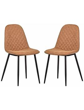"Rivet Ray Mid Century 2 Pack Stitch Back Accent Chairs, 34.3""H, Brown by Rivet"