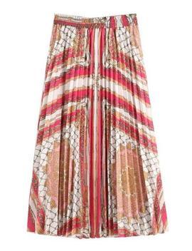 'rachel' Scarf Pattern Pleated Midi Skirt by Goodnight Macaroon