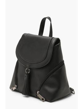 Tassel Trim Flap Rucksack by Boohoo