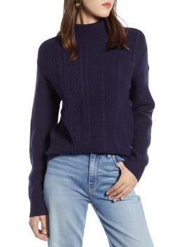 Mock Neck Cable Knit Sweater by Halogen®