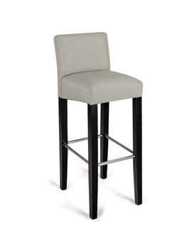 Gymax 1 Pc Fabric Bar Stool Pub Chair Bar Height Padded Seat With Solid Wood Legs by Gymax